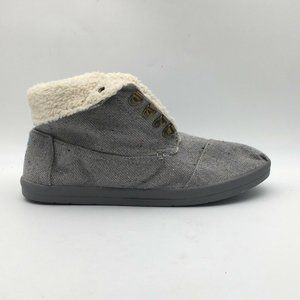 Toms Mens Ankle Boots Gray Fabric Lace Up Sz 11.5